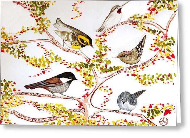 Lady Tapestries - Textiles Greeting Cards - Birds In My Backyard Greeting Card by Alexandra  Sanders