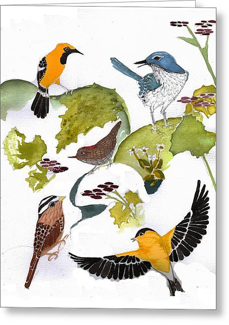 Lady Tapestries - Textiles Greeting Cards - BIRDS IN MY BACKYARD Second in the Series Greeting Card by Alexandra  Sanders