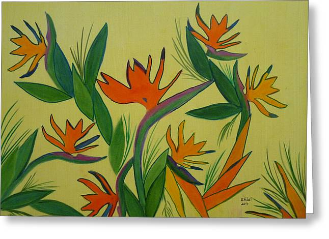 Strelitzia Paintings Greeting Cards - Birds Of Paradise Greeting Card by Elizabeth Ribet