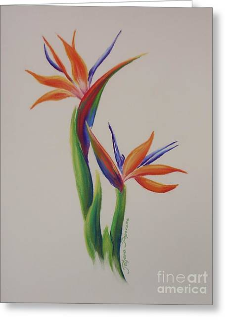 Most Viewed Drawings Greeting Cards - Birds of paradise -In Love Greeting Card by Tatjana Popovska