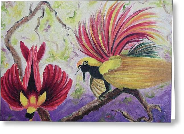 Suzanne Molleur Paintings Greeting Cards - Birds of Paradise Greeting Card by Suzanne  Marie Leclair
