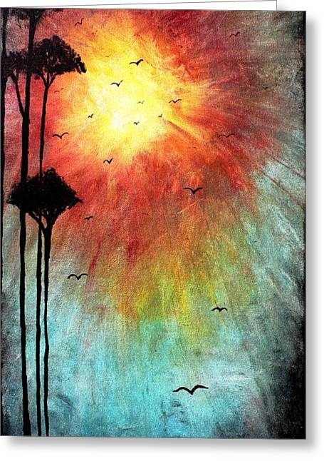 Surreal Landscape Mixed Media Greeting Cards - Birds Of The Sun Greeting Card by Mike Grubb