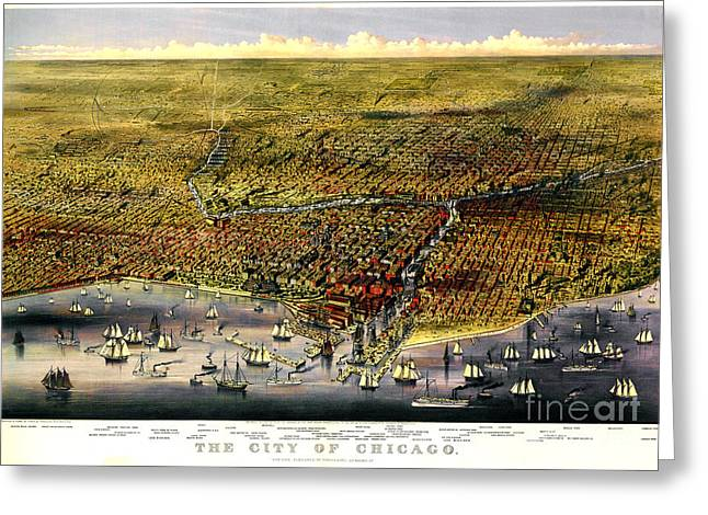 Downtown Drawings Greeting Cards - Birdseye map of Chicago by Parsons and Atwater 1874 Greeting Card by Pg Reproductions