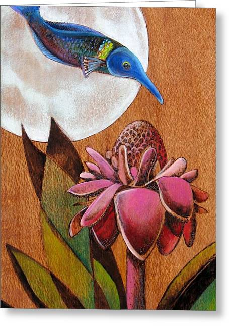 Surrealism Pyrography Greeting Cards - Birdwrasse Greeting Card by Bea Israel