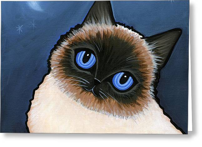 Cat Breeds Portraits Greeting Cards - Birman Blue Night Greeting Card by Leanne Wilkes
