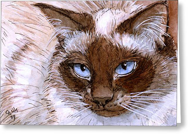 Sacred Drawings Greeting Cards - Birman Cat - Blue eyes. Greeting Card by Svetlana Ledneva-Schukina