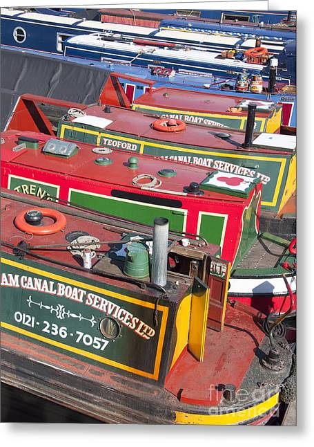 Canal Street Line Greeting Cards - Birmingham boats Greeting Card by Andrew  Michael