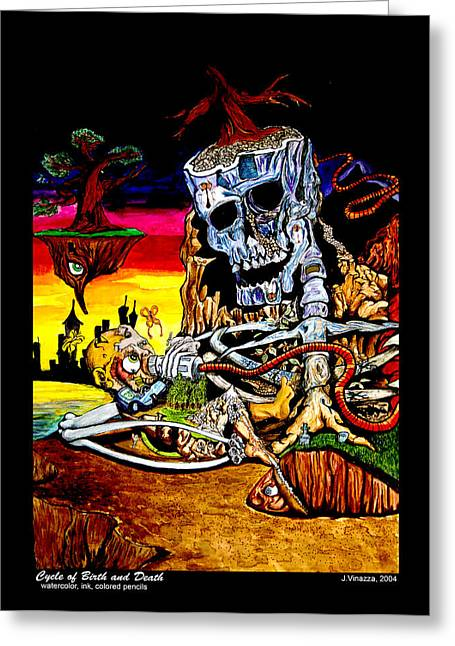 Surreal Landscape Mixed Media Greeting Cards - Birth and Death Greeting Card by  eVol  i