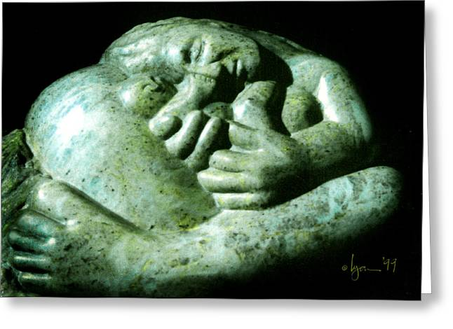 Mother Sculptures Greeting Cards - Birth Bliss Greeting Card by Angela Treat Lyon