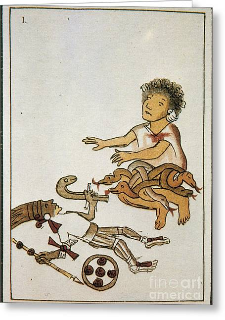 Human Sacrifice Artwork Greeting Cards - Birth If Huitzilopochtli, 16th Century Greeting Card by Photo Researchers