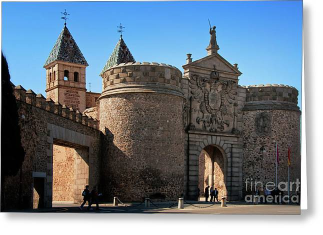 Castilla Greeting Cards - Bisagra Gate Toledo Spain Greeting Card by Joan Carroll