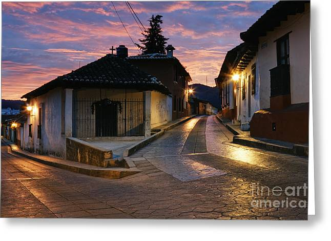 Pink Road Greeting Cards - Bisecting Street at Dawn Greeting Card by Jeremy Woodhouse