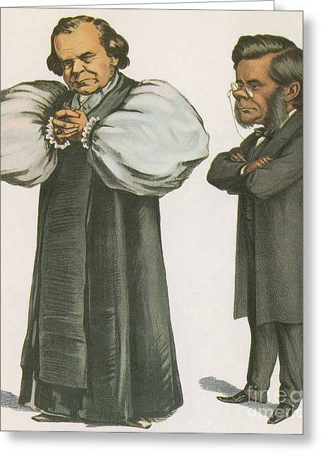 Orator Greeting Cards - Bishop Wilberforce And Thomas Huxley Greeting Card by Science Source