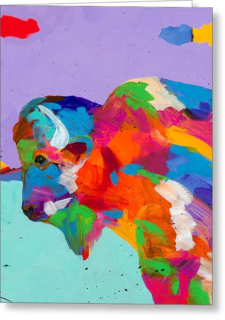 Bison Ablaze Greeting Card by Tracy Miller