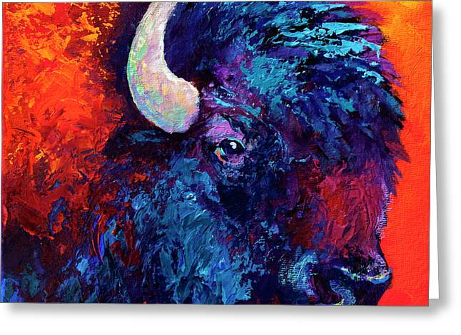 Buffalo Greeting Cards - Bison Head Color Study II Greeting Card by Marion Rose