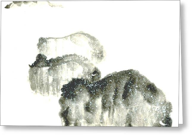 Grazing Snow Paintings Greeting Cards - Bison In Snow II Greeting Card by Mui-Joo Wee