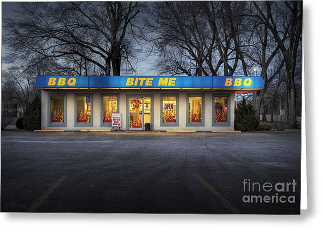 Barbeque Greeting Cards - Bite Me BBQ Greeting Card by Fred Lassmann