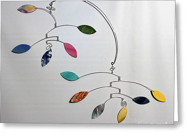 Installation Art Paintings Greeting Cards - Bits and Pieces Kinetic Mobile Art Sculpture Greeting Card by Carolyn Weir