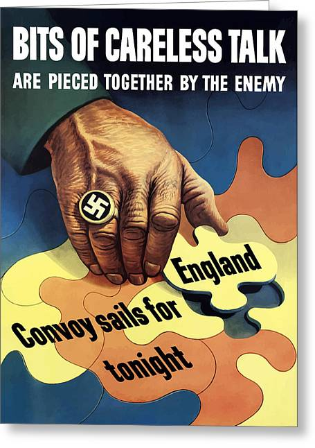 Ww2 Greeting Cards - Bits Of Careless Talk Greeting Card by War Is Hell Store