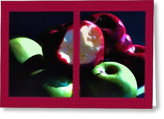 Sour Mixed Media Greeting Cards - Bitten Apple Diptych Greeting Card by Steve Ohlsen