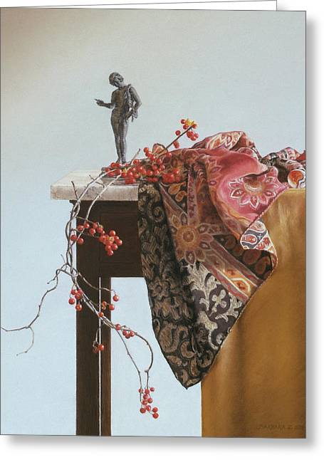 Silk Scarf Greeting Cards - Bittersweet with Bronze Greeting Card by Barbara Groff