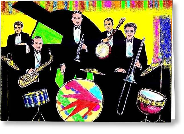 Improvisation Drawings Greeting Cards - Bix Bandstand Greeting Card by Mel Thompson