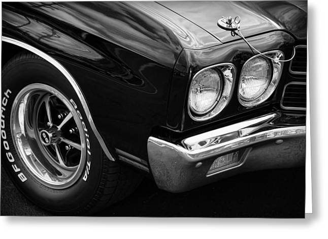 Dragway Greeting Cards - Black 1970 Chevelle SS 396  Greeting Card by Gordon Dean II