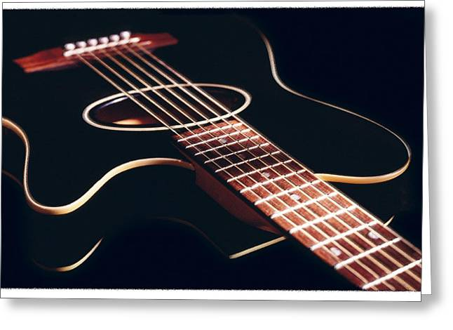 Guitar Strings Greeting Cards - Black Acoustic Guitar Greeting Card by Mike McGlothlen