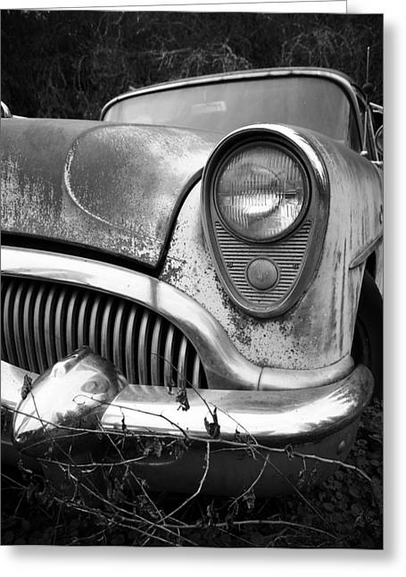1949 Plymouth Greeting Cards - Black an White Buick Greeting Card by Steve McKinzie
