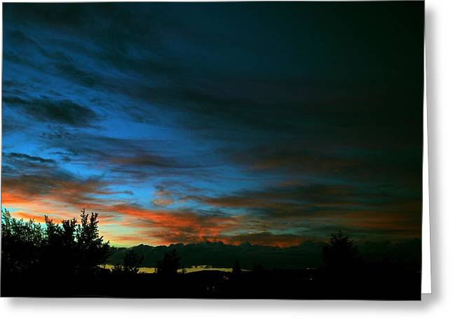 Sunset Posters Greeting Cards - Black and Blue Greeting Card by Kevin Bone