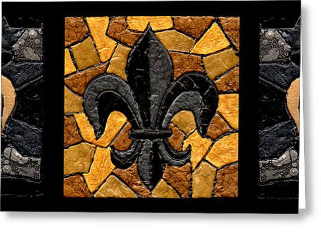 Black Gold Greeting Cards - Black and Gold Fleur de Lis Triptych Greeting Card by Elaine Hodges