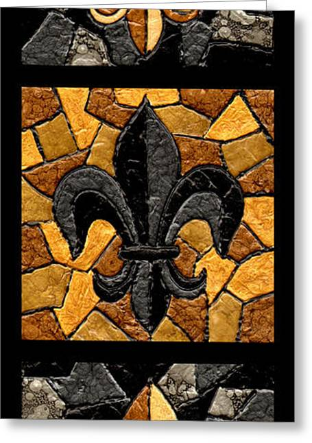 Stained Greeting Cards - Black and Gold Triple Fleur de Lis Greeting Card by Elaine Hodges
