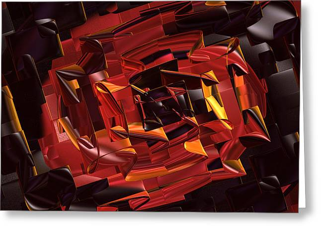 Geometric Digital Art Greeting Cards - Black and Red Greeting Card by Deborah Benoit
