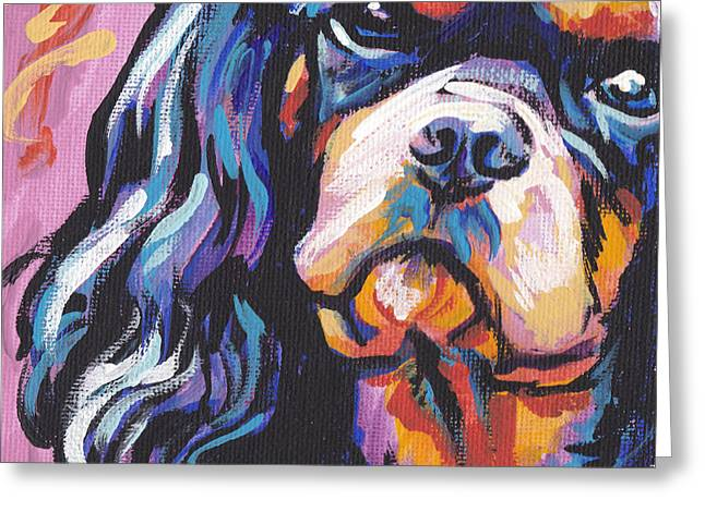 Cavalier Greeting Cards - Black and Tan Cav Greeting Card by Lea