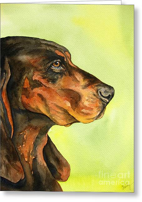 Portraits Of Pets Greeting Cards - Black and Tan Coonhound Greeting Card by Cherilynn Wood