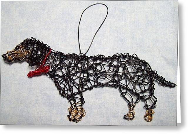 Dog Sculptures Greeting Cards - Black And Tan Daschund Greeting Card by Charlene White