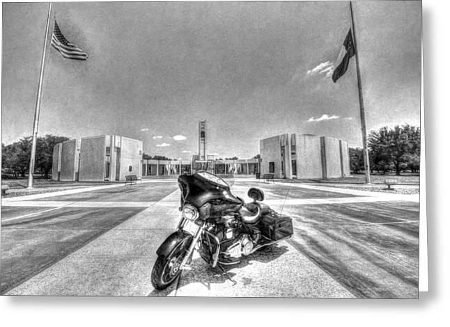 Half Staff Greeting Cards - Black and White - PGR at Houston National Cemetery Greeting Card by David Morefield