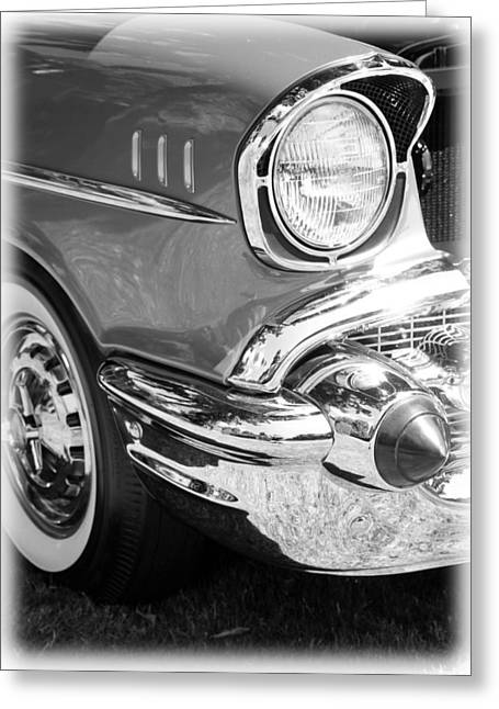 1949 Plymouth Greeting Cards - Black and White 1957 Chevy Greeting Card by Steve McKinzie