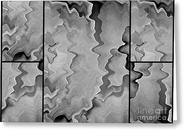 Energetic Art Greeting Cards - Black and White Abstract Design Greeting Card by Carol Groenen