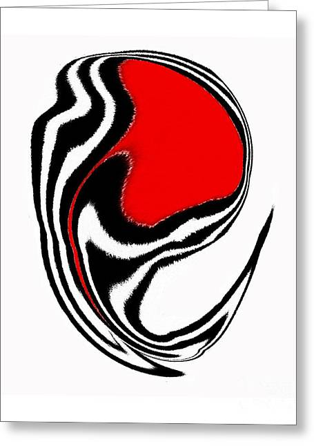Introversion Greeting Cards - Black and White and Red No.45. Greeting Card by Drinka Mercep