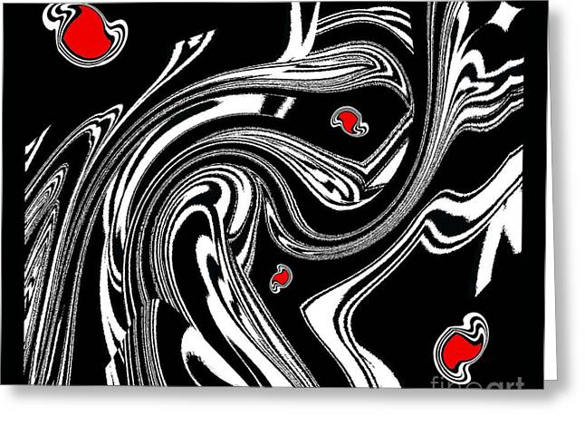 Introversion Greeting Cards - Black and White and Red No.51. Greeting Card by Drinka Mercep