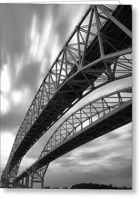 Family Time Greeting Cards - Black and White Blue Water Bridge Greeting Card by Gordon Dean II