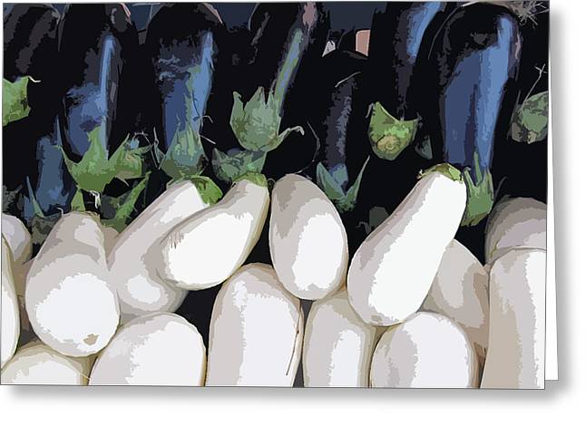 Digitally Manipulated Greeting Cards - Black and White Eggplant Greeting Card by Pat Exum