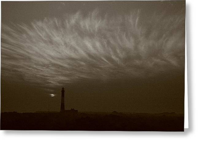 Long Island Photographs Greeting Cards - Black and White Fire Island Light Cirrus Greeting Card by Christopher Kirby