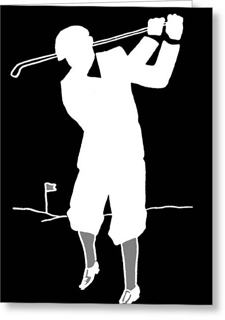James Hill Greeting Cards - Black and White Golfer Greeting Card by James Hill