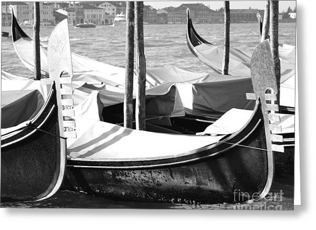 Grande Canal Greeting Cards - Black and white gondolas Venice Italy Greeting Card by Rebecca Margraf