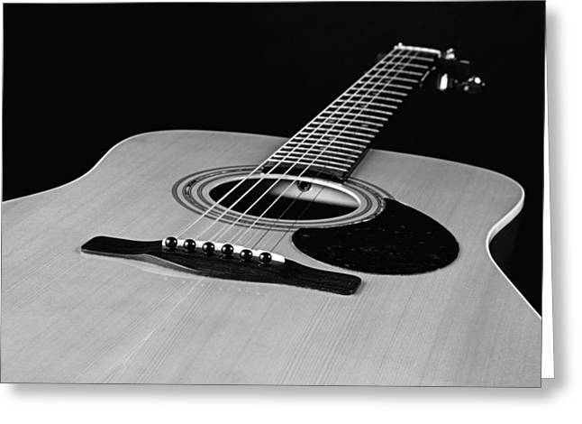 Guitar Pictures Greeting Cards - Black and White Guitar Greeting Card by M K  Miller