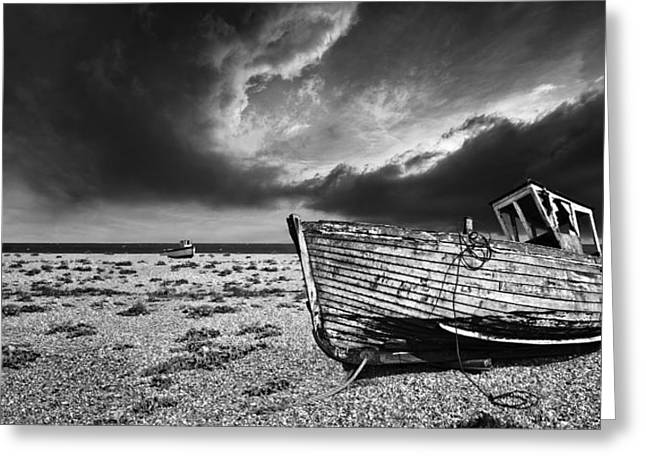 Wooden Boat Greeting Cards - Black And White In Dungeness Greeting Card by Meirion Matthias