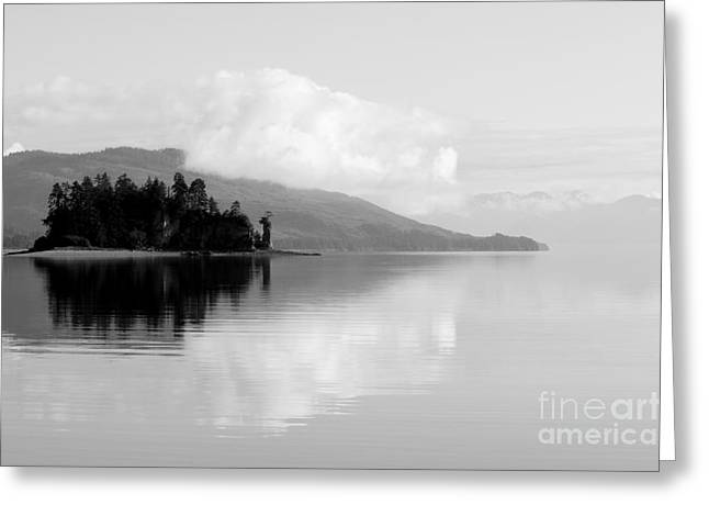 Black And White Island Near Hoonah Greeting Card by Darcy Michaelchuk