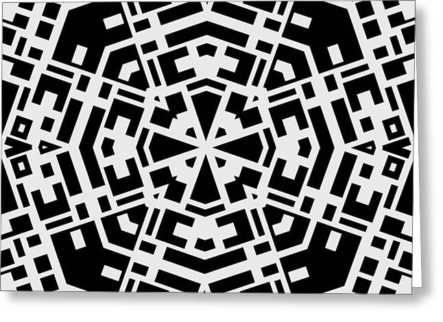 Black And White Kaleidoscope Greeting Card by David G Paul